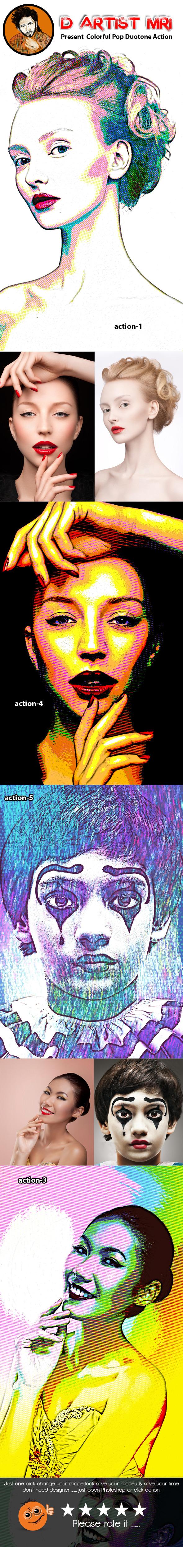 Colorful Pop Duotone Action - Actions Photoshop