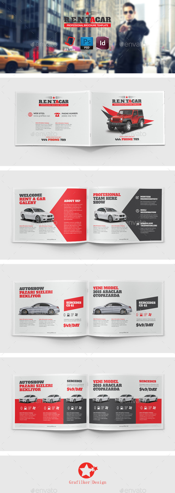 Rent a car brochure templates by grafilker graphicriver for Automobile brochure design