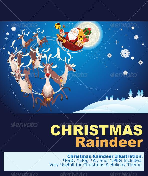 Reindeer And Santa Claus Christmas - Christmas Seasons/Holidays