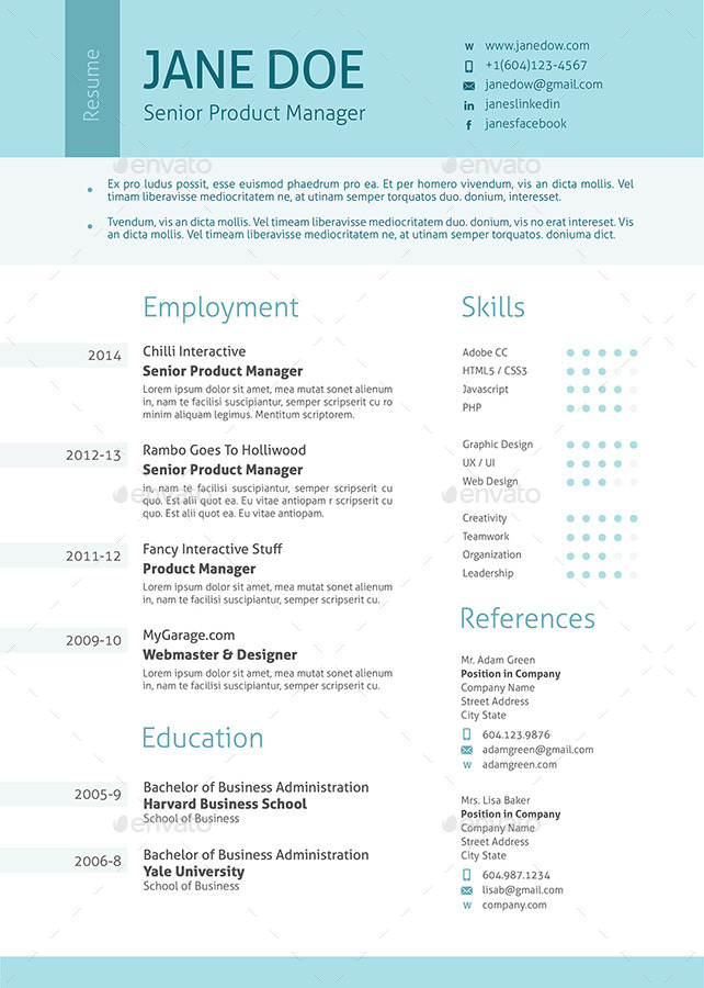 stylish clean resume by ofrika graphicriver