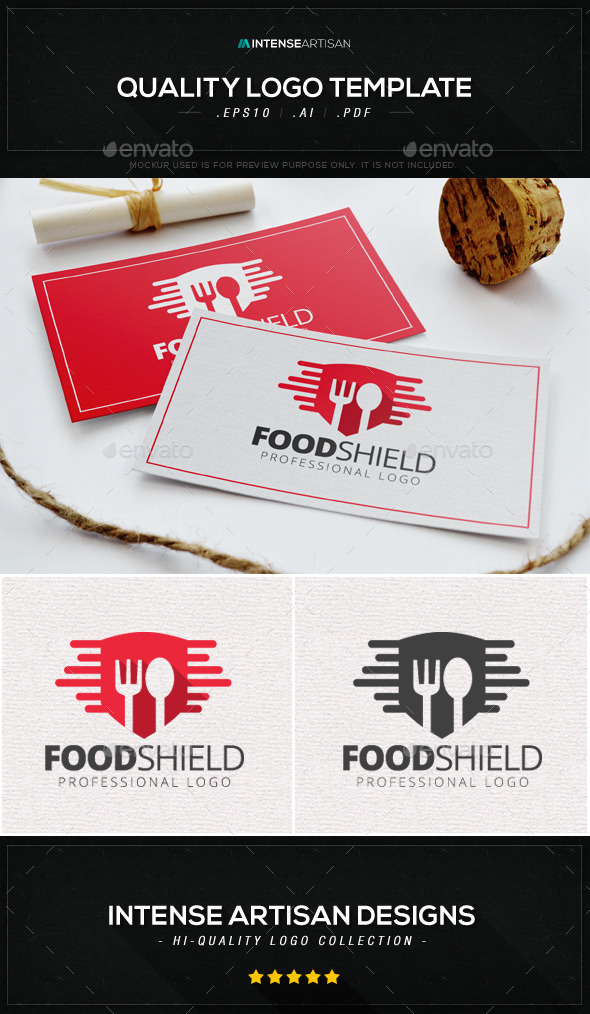 Food Shield Logo Template