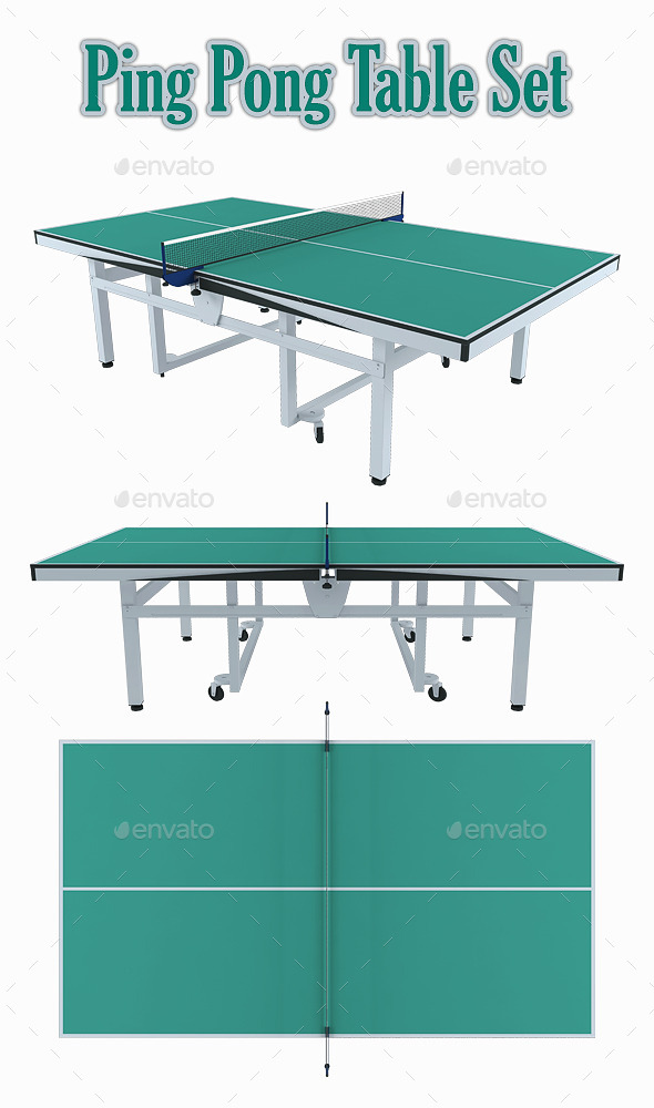 Ping Pong Table Set - Objects 3D Renders  sc 1 st  GraphicRiver : ping pong table set - pezcame.com