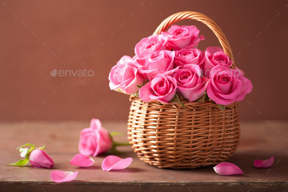 beautiful pink roses in basket - Stock Photo - Images