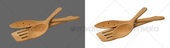 Wooden Utensils - Home & Office Isolated Objects