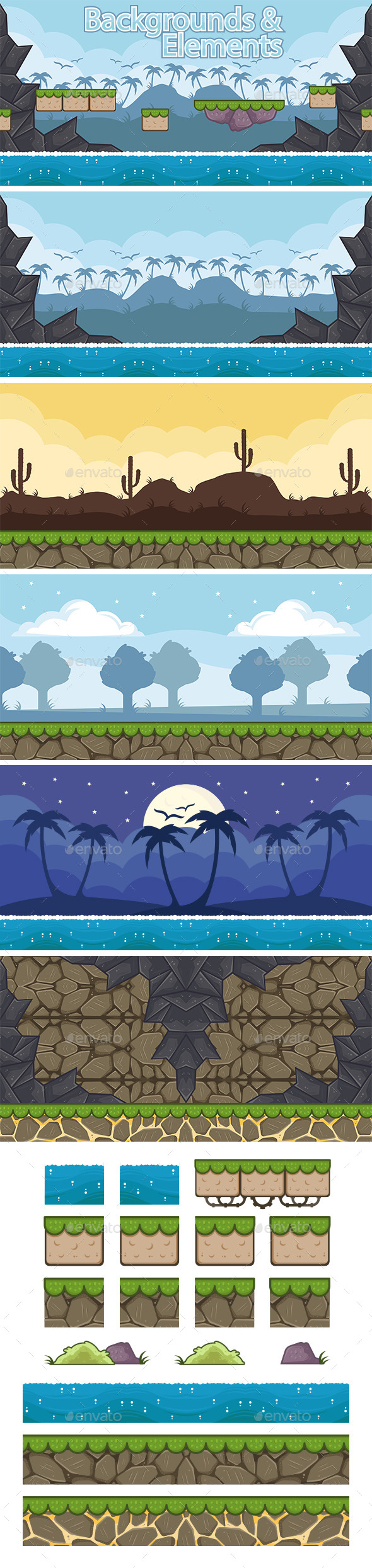 5 Platformer Game Backgrounds Pack - Backgrounds Game Assets