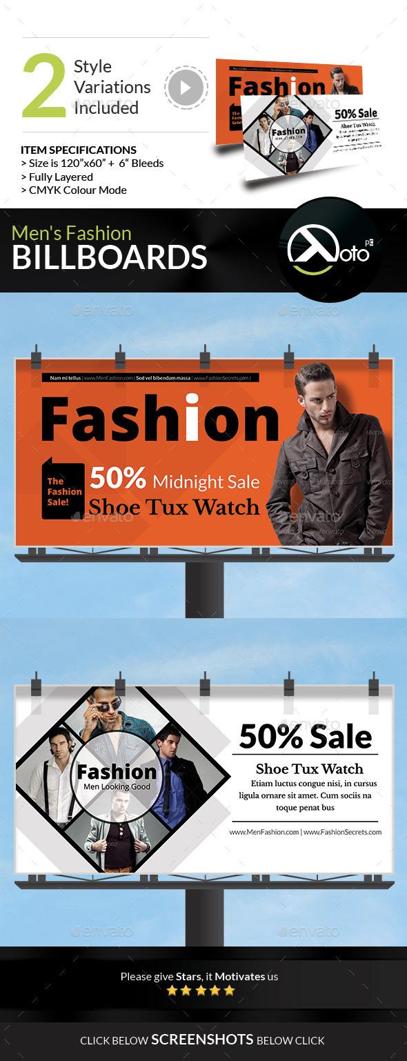 Men Fashion Style Clothing Billboard - Signage Print Templates