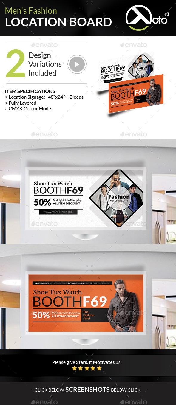 Men Fashion Style Clothing Location Board - Signage Print Templates
