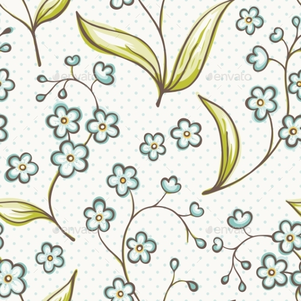 Beautiful Seamless Pattern with Forget-Me Not - Flowers & Plants Nature