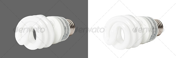 Compact Fluorescent Light Bulb - Home & Office Isolated Objects