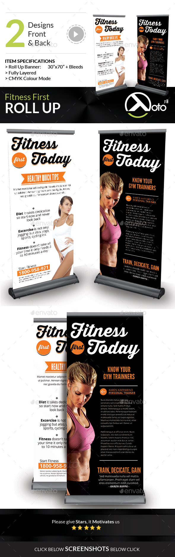 Fitness First Today Health Roll Up Banners - Signage Print Templates