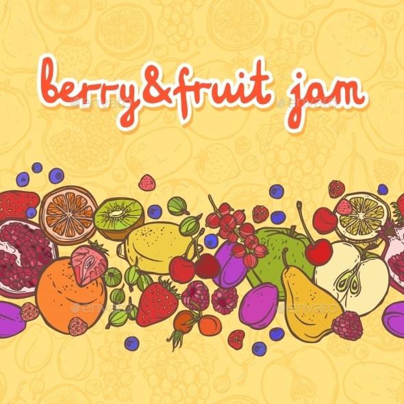 Fruits and Berries Horizontal Border