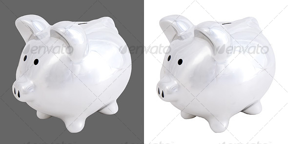 Chrome Piggy Bank - Home & Office Isolated Objects