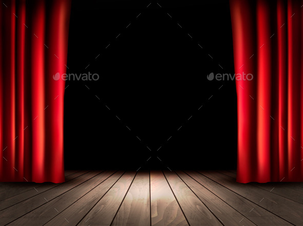 Theater Stage With Wooden Floor And Red Curtains By Almoond