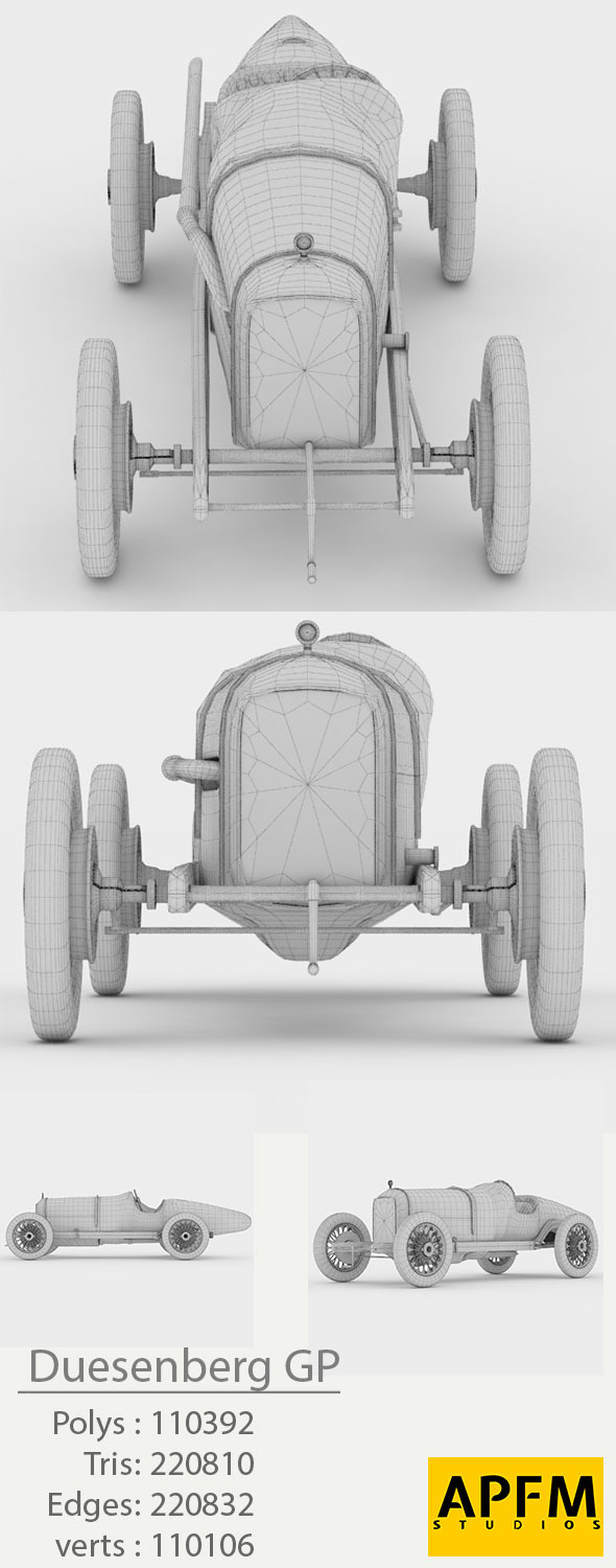 Duesenberg GP 1921 High Poly 3D Model - 3DOcean Item for Sale