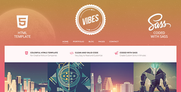 Vibes – Colorful Compact Portfolio (HTML)