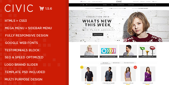 Civic - Watch Store Responsive OpenCart Theme - Shopping OpenCart