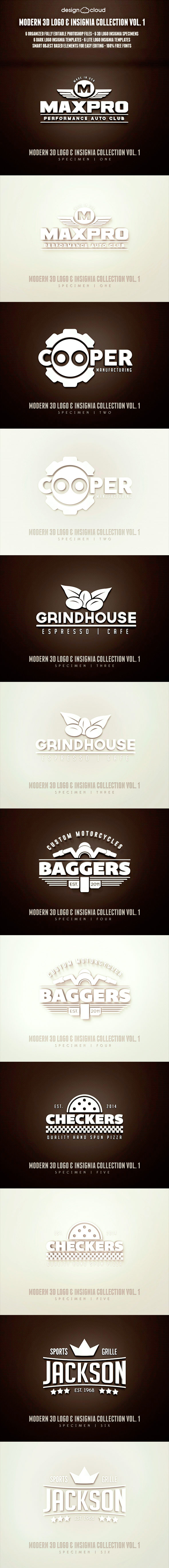 Modern 3D Logo, Insignia & Badge Templates Vol. 1  - Text Effects Styles