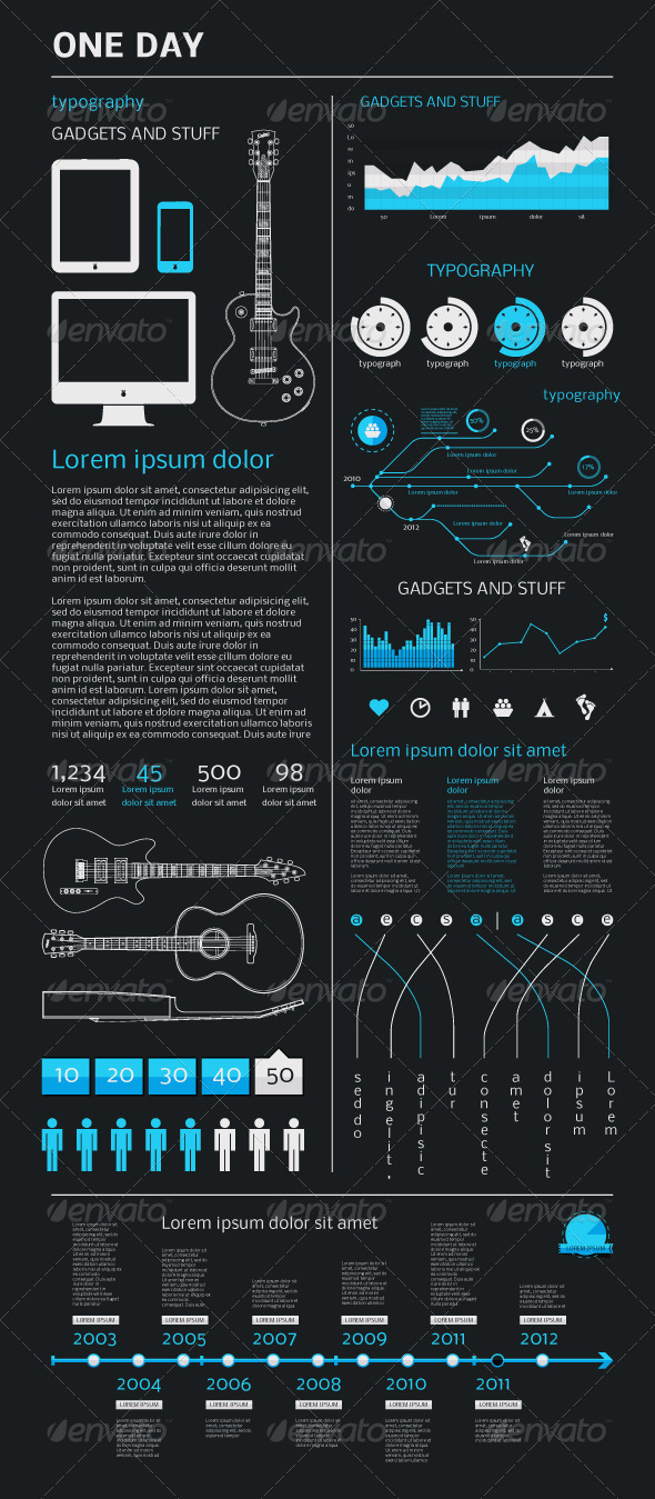 Elements of Infographics with an Electric Guitar - Infographics