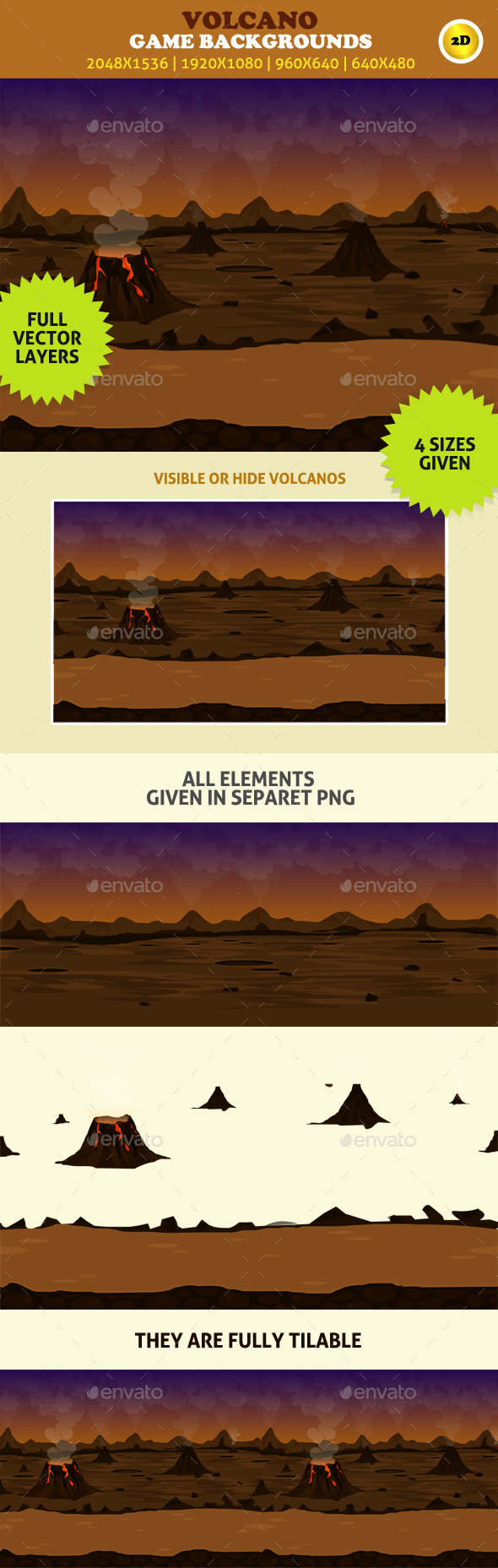 Game Backgrounds: Volcano - Backgrounds Game Assets
