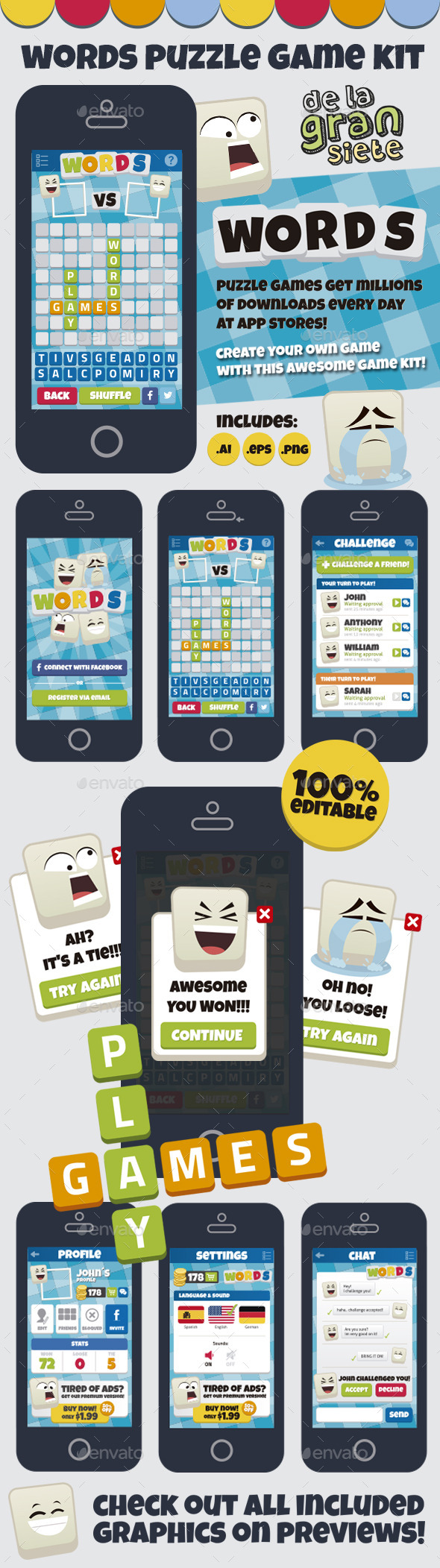 Words Puzzle Game Kit - Game Kits Game Assets