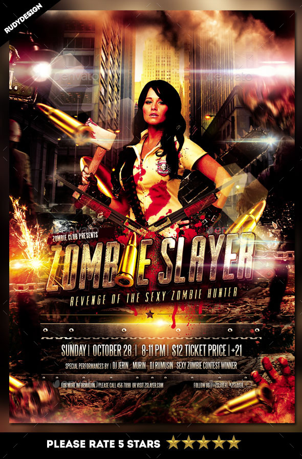 Zombie Slayer Flyer Template Design By Rudydesign  Graphicriver