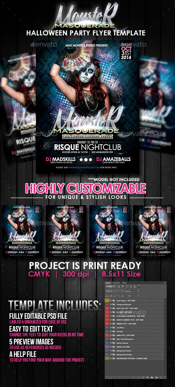 Monster Masquerade Halloween Party Flyer Template - Clubs & Parties Events
