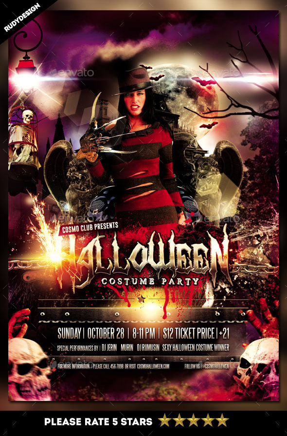Halloween Costume Party Flyer Template By Rudydesign | Graphicriver