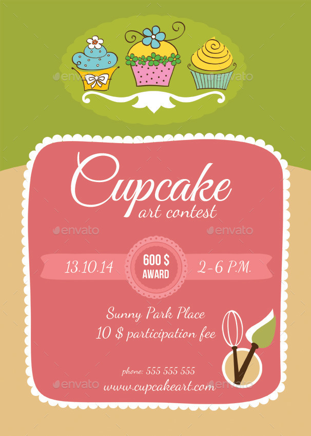 Cupcake Art Contest And Bakery Flyers By Ragerabbit Graphicriver