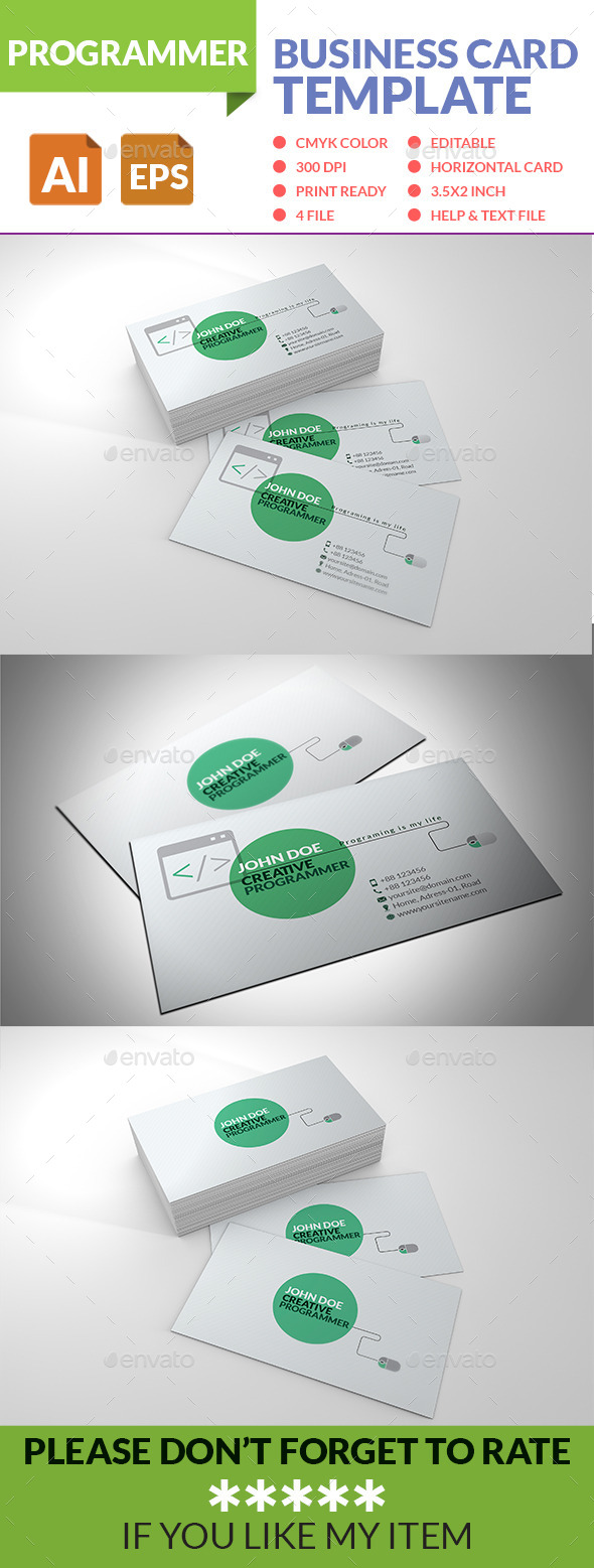 Programmer Business Card - Business Cards Print Templates