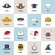 Icons Hat Flat Line - GraphicRiver Item for Sale