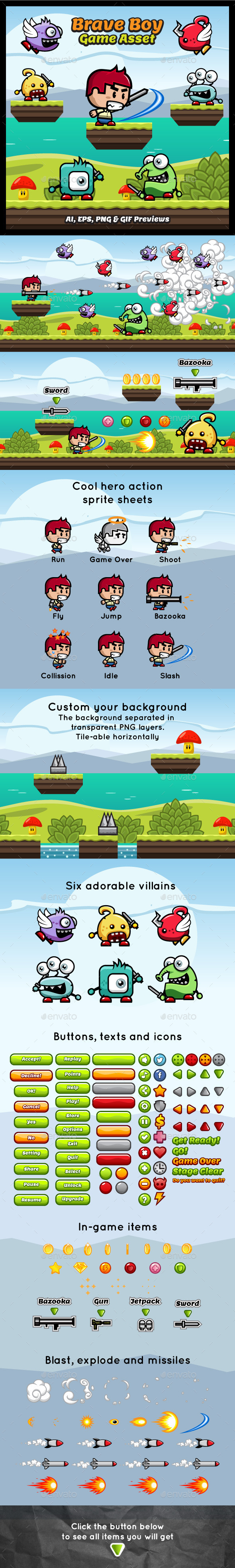 Brave Boy Game Asset - Game Kits Game Assets