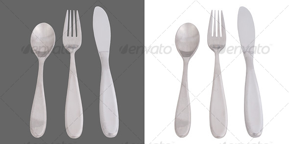 Cutlery: Fork, Knife, Spoon - Home & Office Isolated Objects
