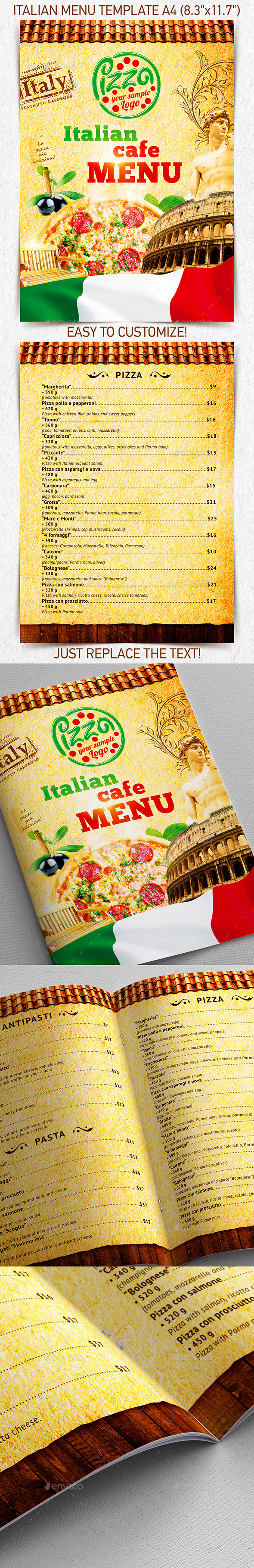 Italian Menu Template vol.2 - Food Menus Print Templates