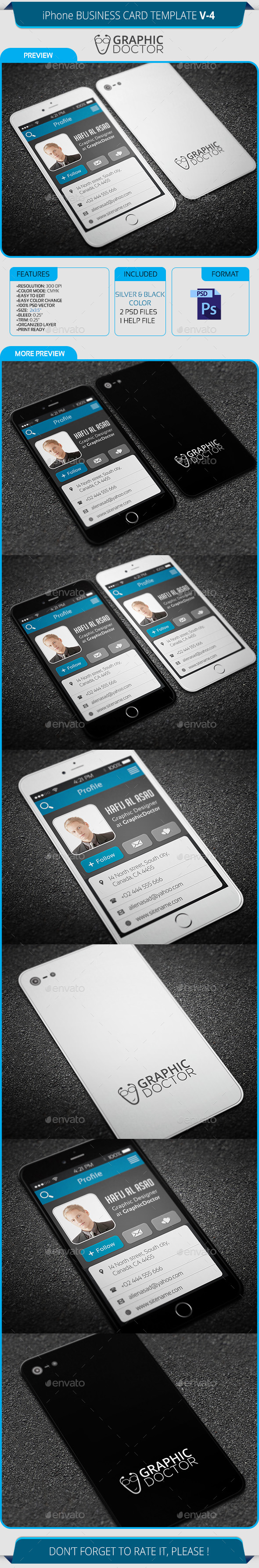 iPhone Business Card Template V-4 by GraphicDoctor | GraphicRiver