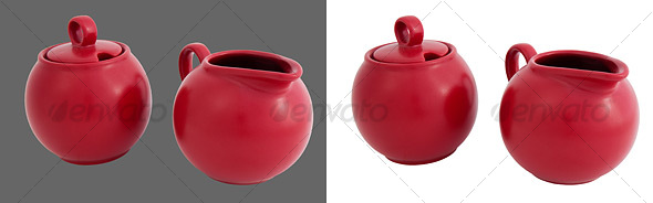 Ceramic Sugar Jar & Cream Jug - Home & Office Isolated Objects