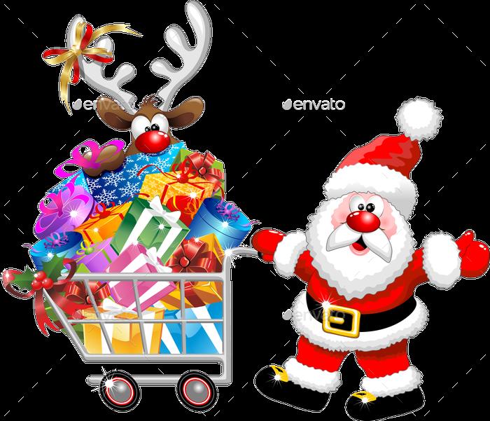 santa pushing shopping cart with reindeer png previewpng - Santa With Reindeer