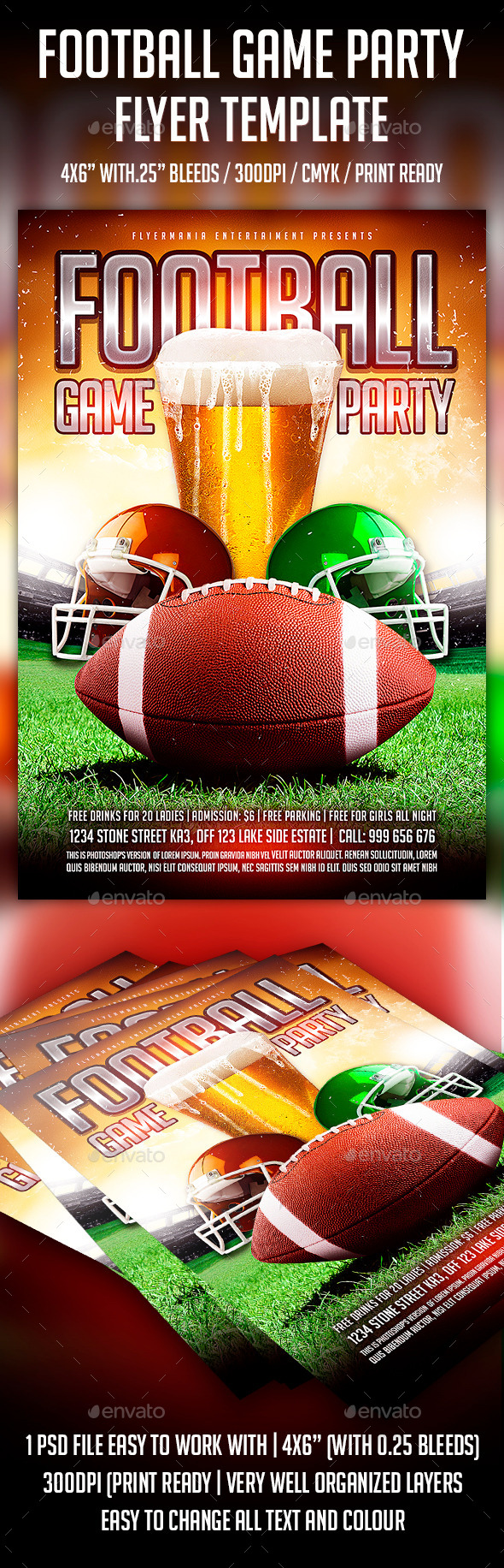 Football Game Party Flyer Template - Flyers Print Templates