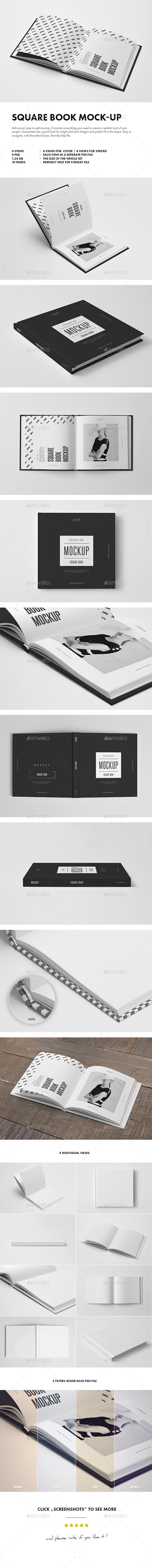 Square Book Mock-up - Books Print