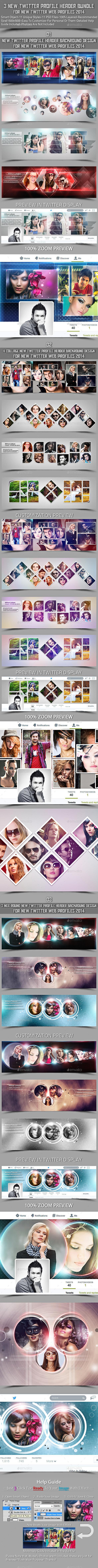 3 New Twitter Profile Header Bundle - Twitter Social Media