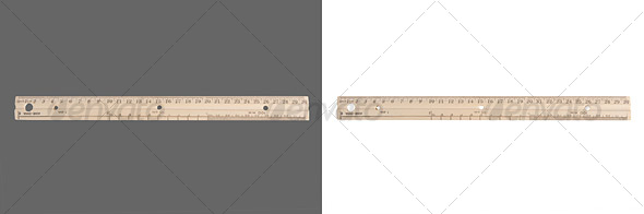 Wooden Ruler - Home & Office Isolated Objects