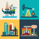 Vector Flat Oil Recovery, Oil Rig, a Gas Station.  - GraphicRiver Item for Sale
