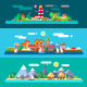 Vector Flat Landscapes by the Sea - GraphicRiver Item for Sale