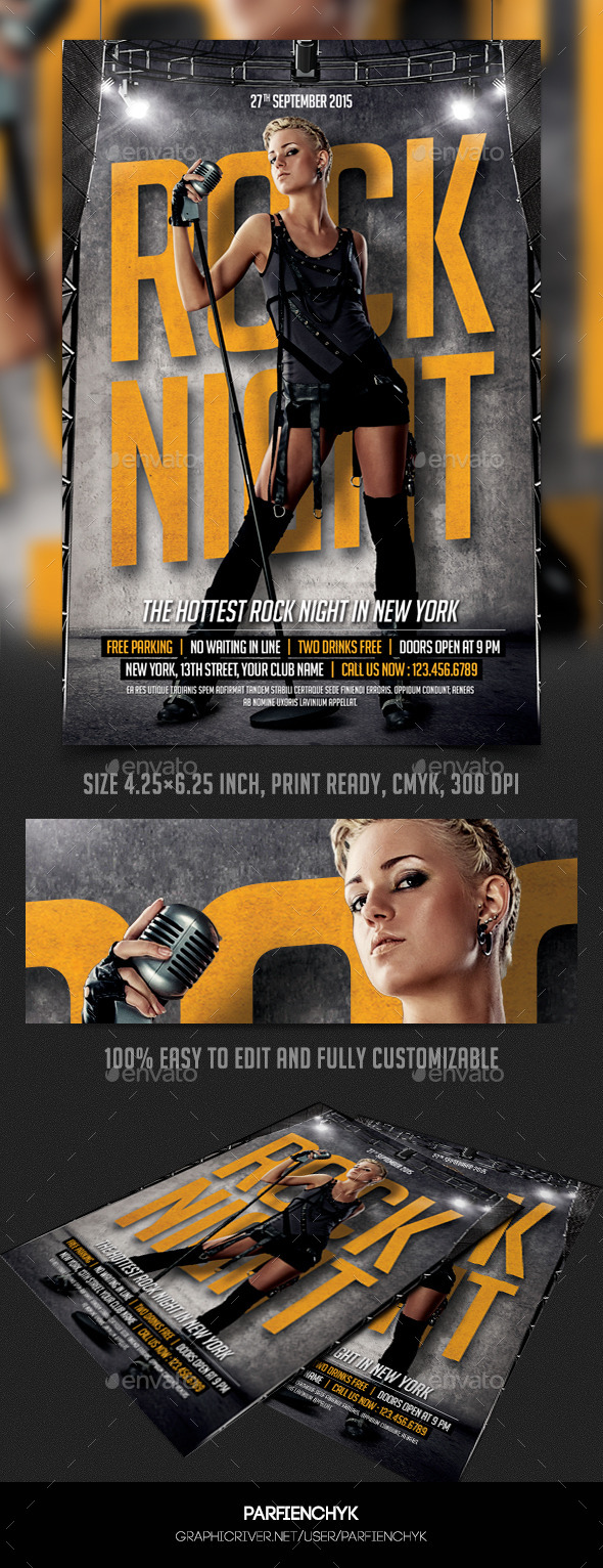 Rock Night Party Flyer Template - Events Flyers
