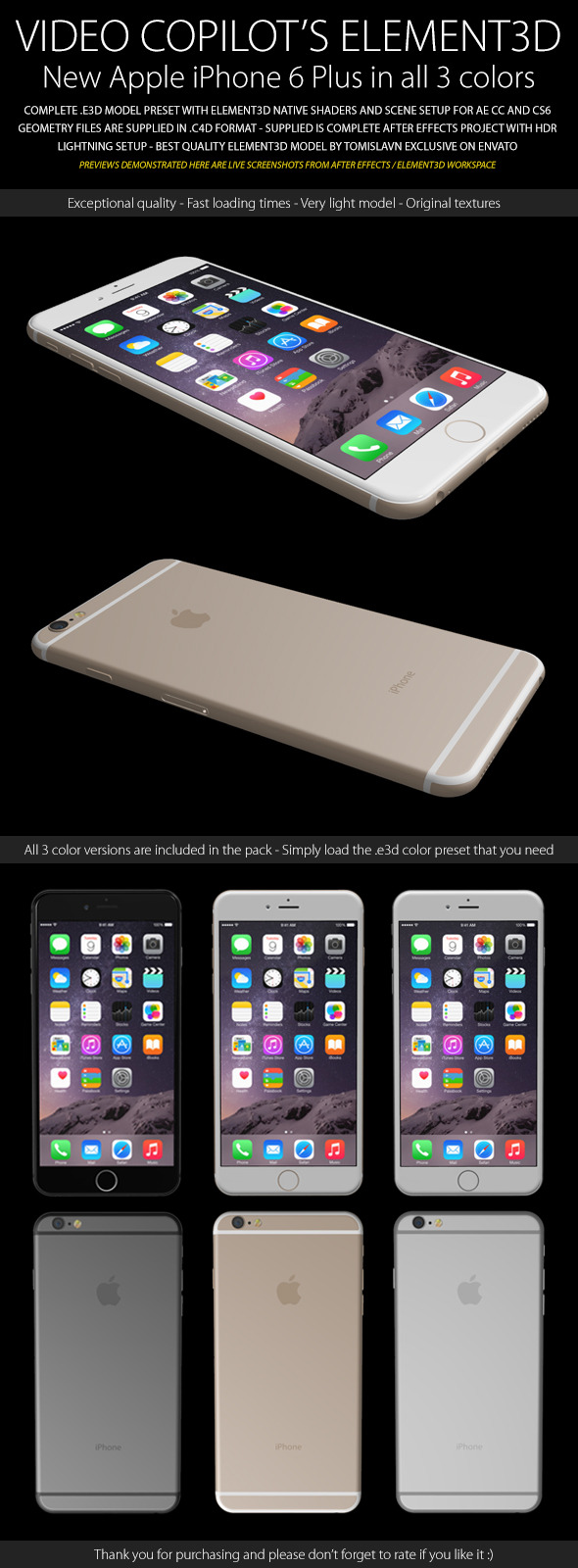 Element3D - iPhone 6 Plus - 3DOcean Item for Sale