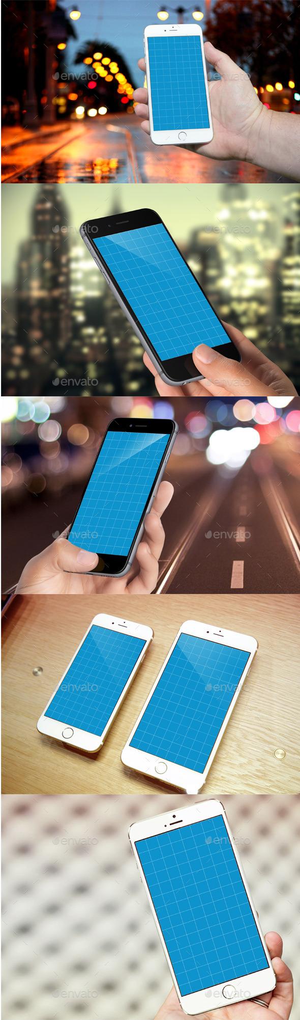 Phone 6 Realistic Photo Mockups - Product Mock-Ups Graphics