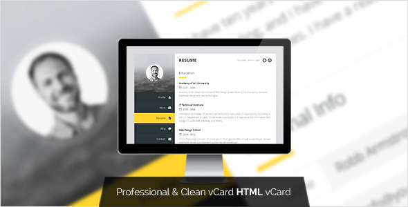 Premium Layers: HTML vCard & Resume Template