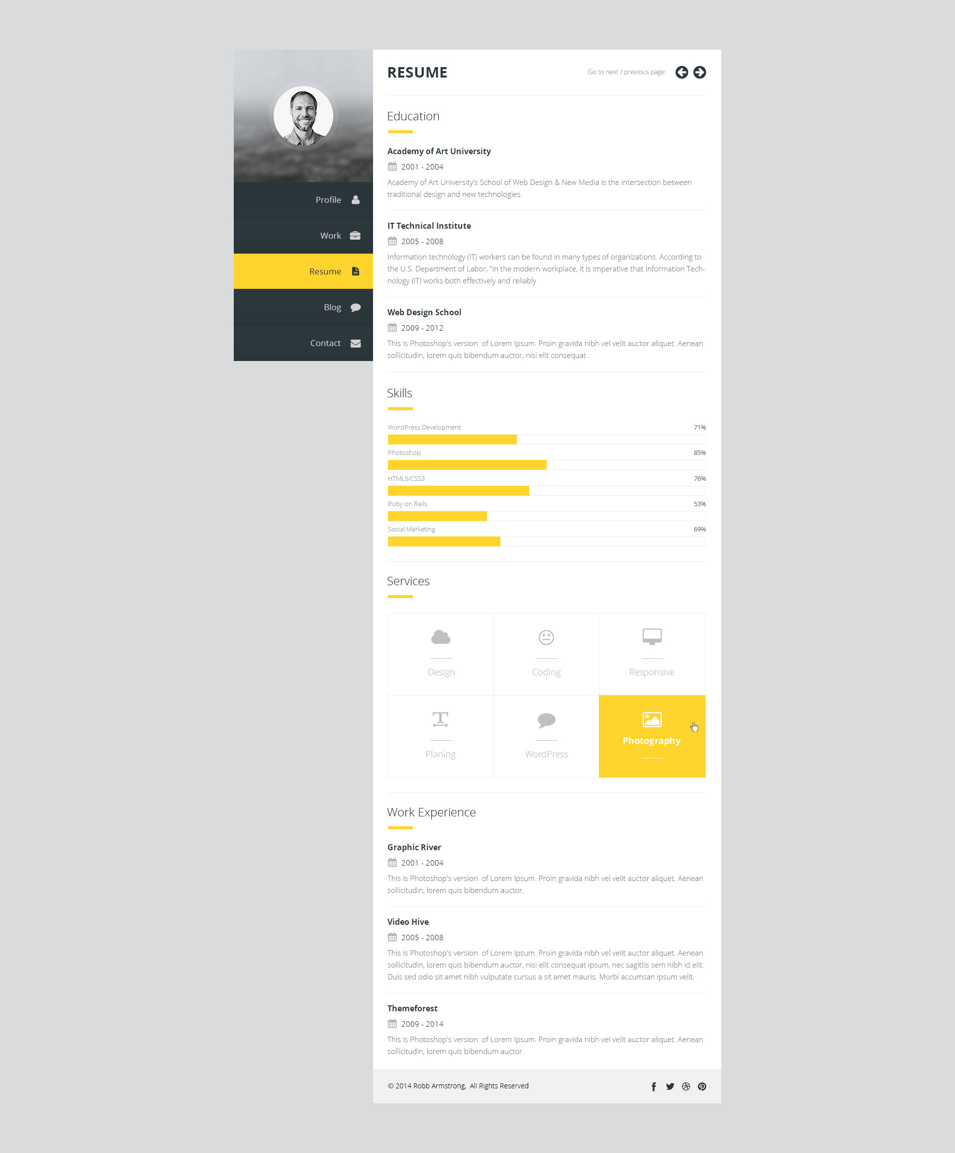 premium layers vcard resume template by premiumlayers