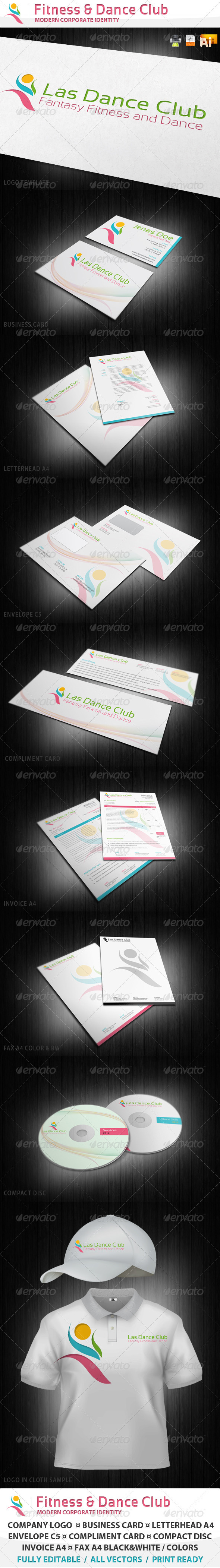 Fitness and Dance Club Corporate Identity - Stationery Print Templates