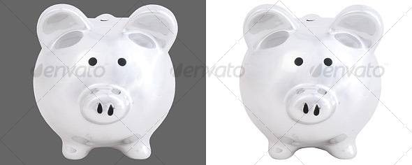 Front View of Piggy Bank - Home & Office Isolated Objects