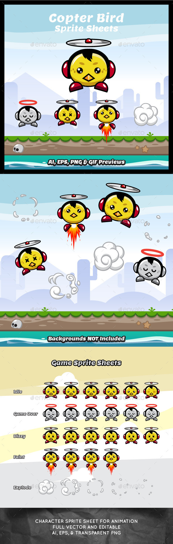 Copter Bird Game Character Sprite Sheets - Sprites Game Assets